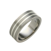 Titanium and Silver Stripe Ring 8mm