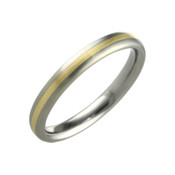 Titanium and 18ct Yellow 3mm Ring