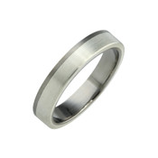 Titanium and Silver 4mm Ring  LR827