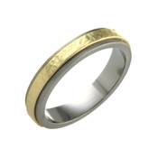 Titanium and 18ct Yellow Gold Sandstone 4mm Ring