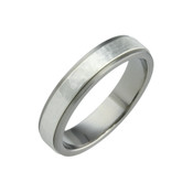 Titanium and Silver Sandstone 6mm Ring