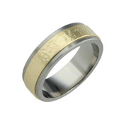 Titanium and 18ct Yellow gold Sandstone 8mm Ring