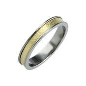Titanium and 18ct Yellow Gold Sandstone 4mm Ring LR710