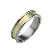 Titanium and 18ct Yellow Gold Sandstone 6mm Ring