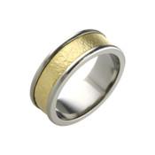 Titanium and 18ct Yellow Sandstone 8mm Ring