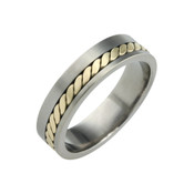 Titanium 6mm Flat Two Colour Ring