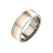 Titanium 8mm Tri Colour Ring