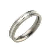 Titanium 4mm Two Colour Flat Top Court Ring  LR1427