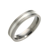 Titanium 5mm Two Colour Flat Top Court Ring