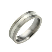 Titanium 6mm Two Colour Flat Top Court Ring
