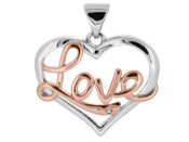 Silver Love Pendant with Rose & White Coloured Rhodium Plating