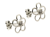 Silver Outline Flower Stud Earrings with CZ