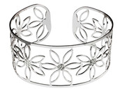 Silver Flower Design Filigree Bangle