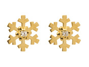 9ct Yellow Gold Snowflake Earrings CZ Set