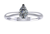 ER003-50 Pear Shaped Diamond Solitaire Engagement Ring col G 0.25ct