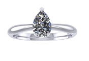 ER003-60 Pear Shaped Diamond Solitaire Engagement Ring col G 0.35ct