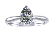ER003-70 Pear Shaped Diamond Solitaire Engagement Ring col G 0.50ct