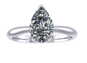 ER103-80 Pear Shaped Diamond Solitaire Engagement Ring col H 0.75ct