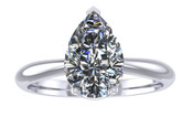 ER103-90 Pear Shaped Diamond Solitaire Engagement Ring col H 1ct