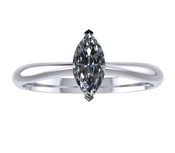 ER004-50 Marquise Cut Diamond Solitaire Engagement Ring col G 0.25ct