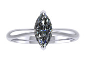 ER004-60 Marquise Cut Diamond Solitaire Engagement Ring col G 0.35ct