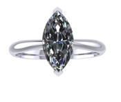 ER104-90 Marquise Cut Diamond Solitaire Engagement Ring col H 1ct