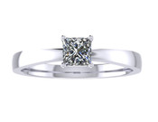 ER009-50 Princess Cut Diamond Solitaire Engagement Ring col G 0.25ct