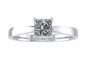 ER109-60 Princess Cut Diamond Solitaire Engagement Ring col H 0.35ct