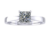 ER109-70 Princess Cut Diamond Solitaire Engagement Ring col H 0.50ct
