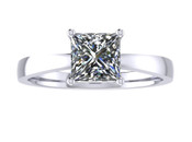 ER109-80 Princess Cut Diamond Solitaire Engagement Ring col H 0.75ct