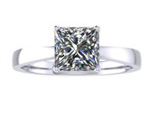 ER009-90 Princess Cut Diamond Solitaire Engagement Ring col G 1ct