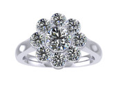 ER111-70 Diamond Cluster Engagement Ring col H SI 1ct