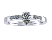 ER014-50 Pear Shaped Diamond Engagement Ring col G TW 0.33ct