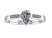 ER114-60 Pear Shaped Diamond Engagement Ring col H TW 0.43ct