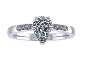 ER014-70 Pear Shaped Diamond Engagement Ring col G TW 0.58ct