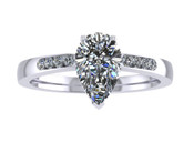 ER114-80 Pear Shaped Diamond Engagement Ring col H TW 0.83ct