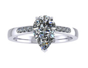 ER114-90 Pear Shaped Diamond Engagement Ring col H TW 1.08ct
