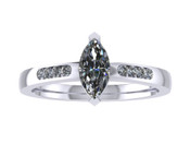 ER015-50 Marquise Cut Diamond Engagement Ring col G TW 0.33ct