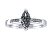 ER115-60 Marquise Cut Diamond Engagement Ring col H TW 0.43ct