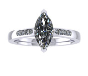 ER015-70 Marquise Cut Diamond Engagement Ring col G TW 0.58ct