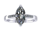 ER115-80 Marquise Cut Diamond Engagement Ring col H TW 0.83ct
