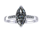 ER115-90 Marquise Cut Diamond Engagement Ring col H TW 1.08ct