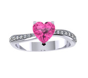 ER019-60 Heart Shape Sapphire and Diamond Engagement Ring col H TW 0.35ct