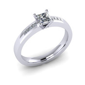 ER020-50 Princess Cut Diamond Engagement Ring col G TW 0.33ct