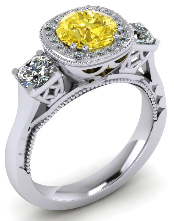 ER020-80 Brilliant Cut Canary Diamond Engagement Ring TW