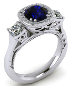 ER120-80 Brilliant Cut Blue Sapphire Engagement Ring TW 1.92ct