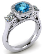ER020-90 Brilliant Cut Topaz Engagement Ring TW 1.08ct