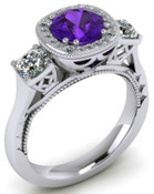 ER120-90 Brilliant Cut Amethyst Engagement Ring TW 1.08ct