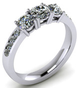 ER021-90 Brilliant Cut Three Stone Diamond Engagement Ring TW 1.92ct