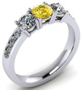 ER021-90 Brilliant Cut Three Stone Canary Diamond Engagement Ring TW 1.92ct